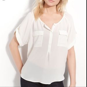 Joie | 'Sissy' Silk Boxy Blouse Off White